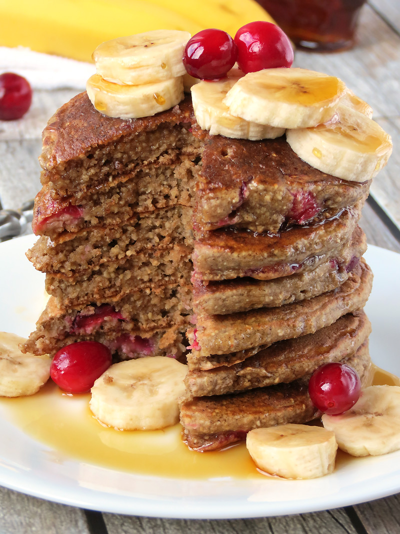 Healthy Cranberry Banana Oatmeal Pancakes   YummyAddiction.com