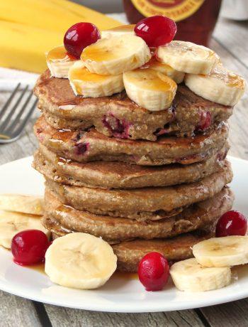 Skinny Cranberry Banana Oatmeal Pancakes