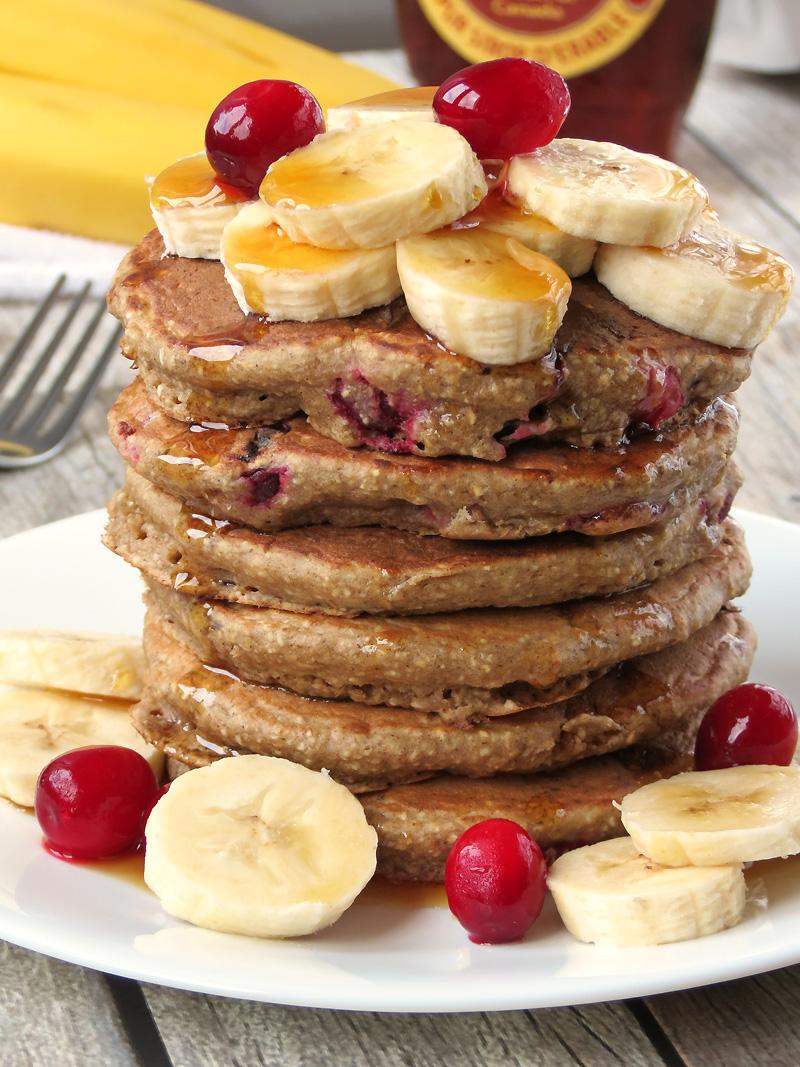 Skinny Cranberry Banana Oatmeal Pancakes   YummyAddiction.com