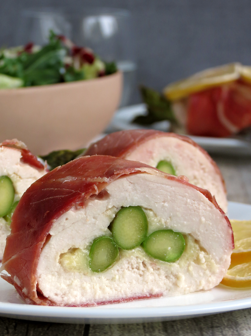 Asparagus Stuffed Chicken Wrapped In Prosciutto | @yummyaddiction