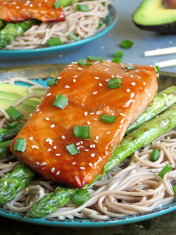 Baked Teriyaki Salmon With Soba Noodles, Grilled Asparagus And Fresh Avocado