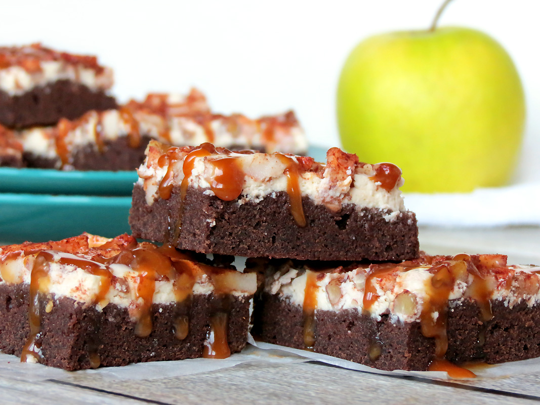 Delicious Apple Cheesecake Brownies With Salted Caramel | @yummyaddiction