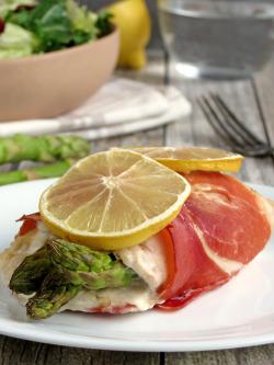 Prosciutto Wrapped Asparagus And Mozzarella Stuffed Chicken