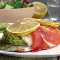 Prosciutto Wrapped Asparagus Stuffed Chicken