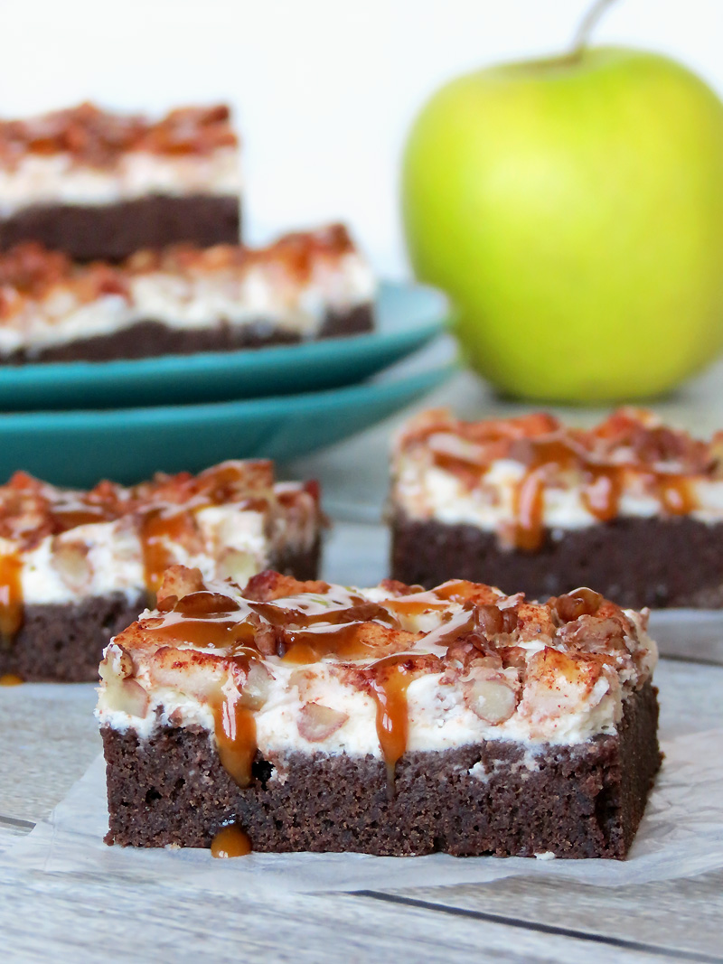 Salted Caramel Apple Cheesecake Brownie Bars | @yummyaddiction
