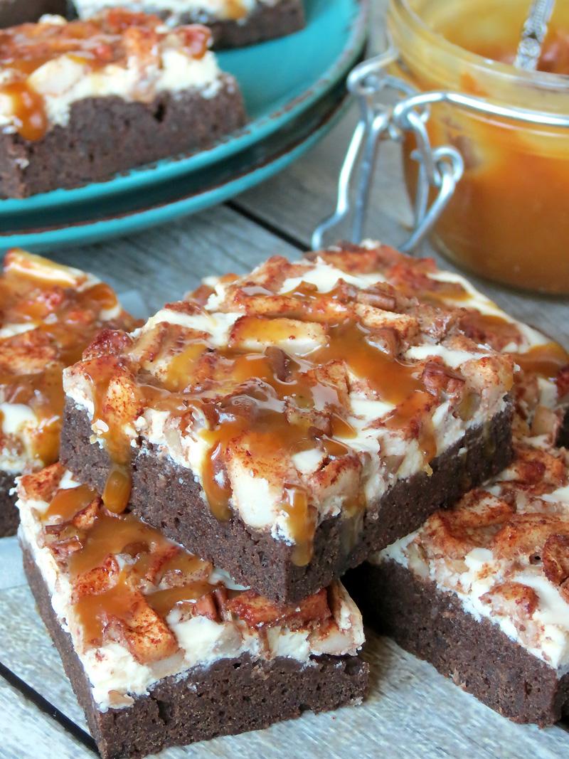 The Best Salted Caramel Apple Cheesecake Brownies | @yummyaddiction