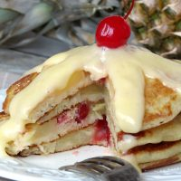 Pineapple Upside Down Pancakes With Pineapple Curd