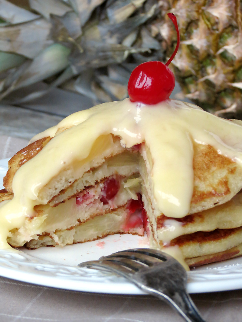 Pineapple Upside Down Pancakes With Pineapple Curd | @yummyaddiction