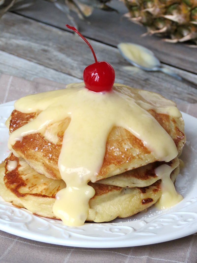 Upside Down Pineapple Pancakes With Pineapple Curd