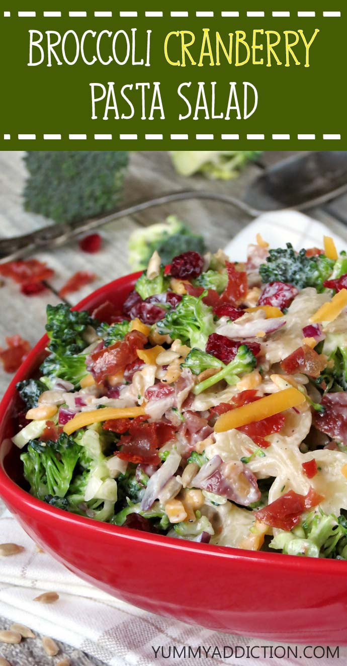 Broccoli Cranberry Pasta Salad | @yummyaddiction