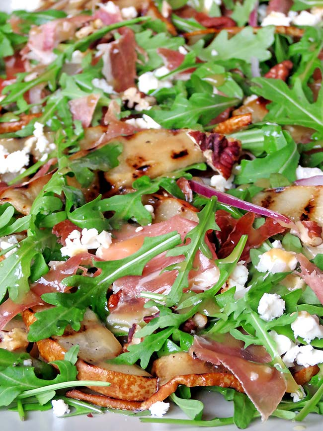 Arugula Salad with Grilled Pear And Prosciutto | yummyaddiction.com