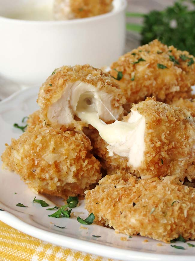 Baked Chicken Nuggets Stuffed With Mozzarella - Yummy Addiction