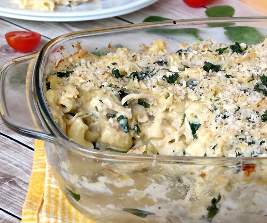 Chicken, Spinach And Artichoke Pasta Bake (2)
