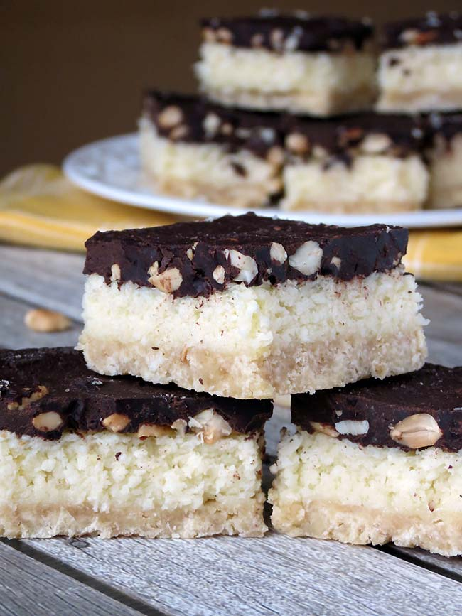 Chocolate Coconut Cookie Bars With Peanuts | yummyaddiction.com
