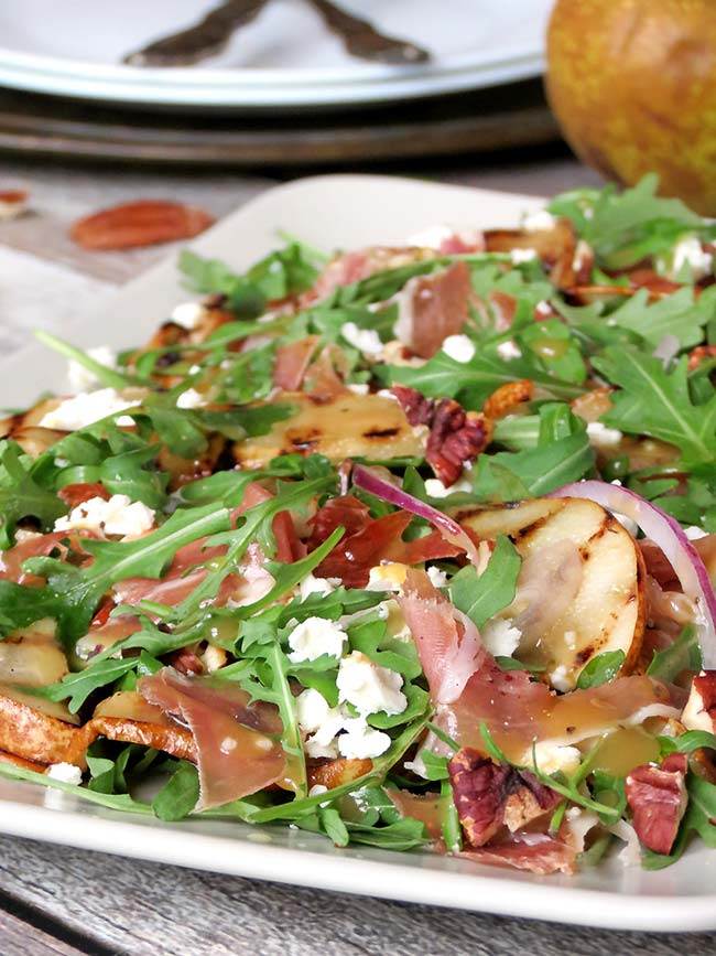 Grilled Pear, Prosciutto And Arugula Salad | yummyaddiction.com