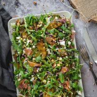 Grilled Pear, Prosciutto, Feta And Arugula Salad