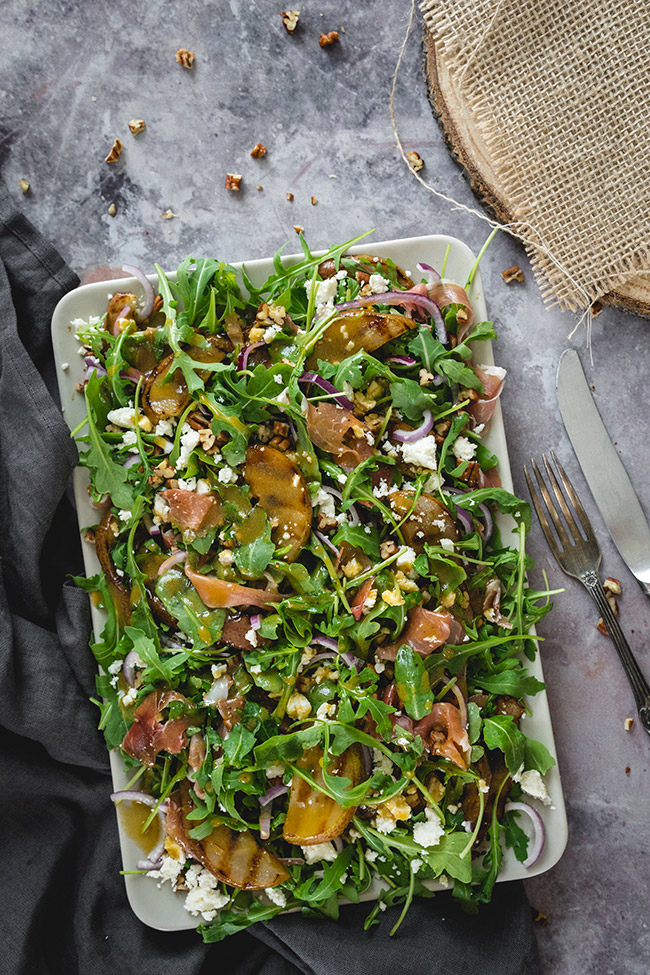 Grilled Pear, Prosciutto, Feta And Arugula Salad   yummyaddiction.com
