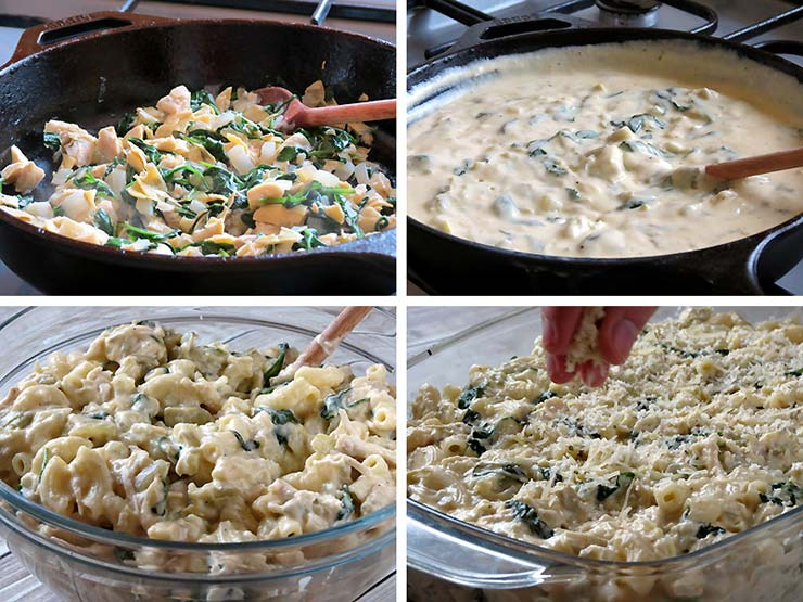 How To Make Chicken, Spinach And Artichoke Pasta Bake | yummyaddiction.com