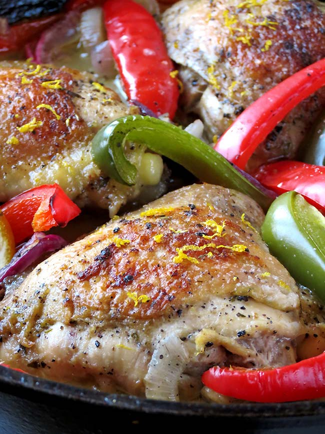 Oven Baked Lemon Pepper Chicken Thighs | yummyaddiction.com
