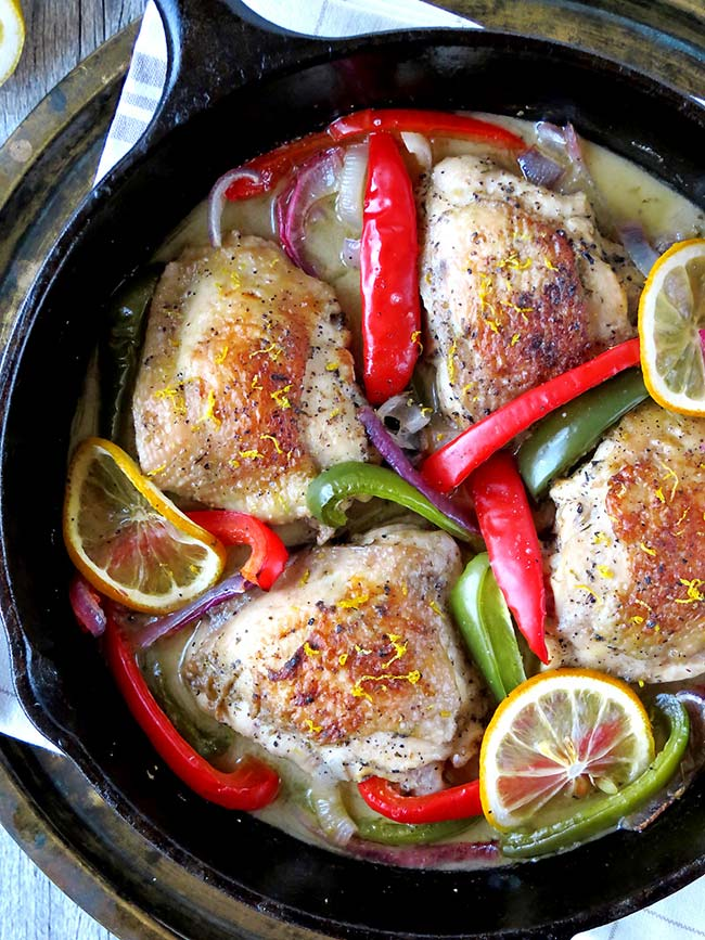 Tender And Juicy Oven Baked Lemon Pepper Chicken Thighs | yummyaddiction.com