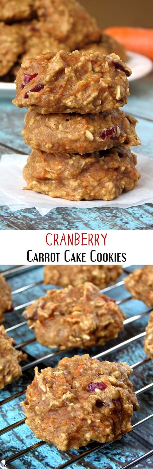 Cranberry Carrot Cake Cookies | yummyaddiction.com