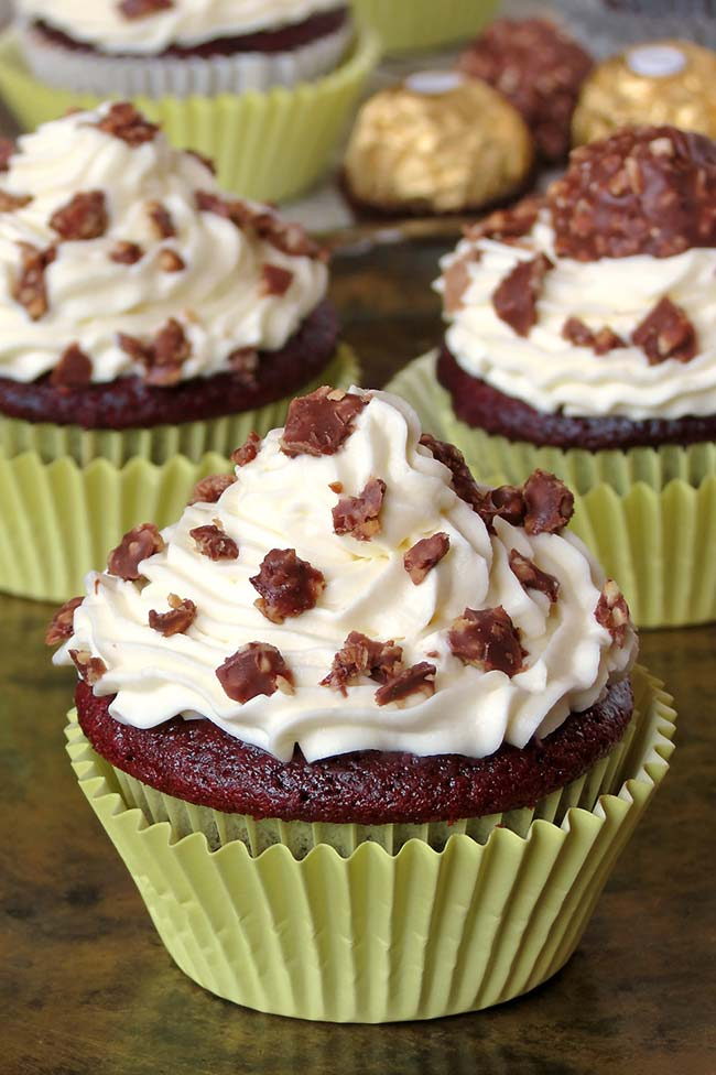 Delicious Red Velvet Ferrero Rocher Cupcakes | yummyaddiction.com
