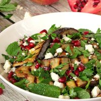 Grilled Eggplant, Pomegranate And Feta Salad