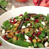 Grilled Eggplant, Pomegranate And Feta Salad