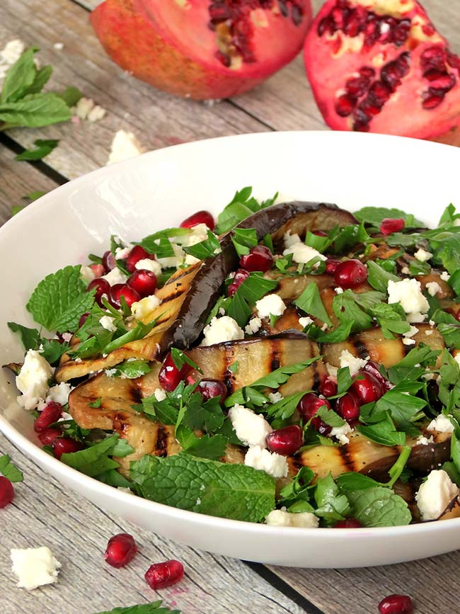 Grilled Eggplant, Pomegranate And Feta Salad | yummyaddiction.com