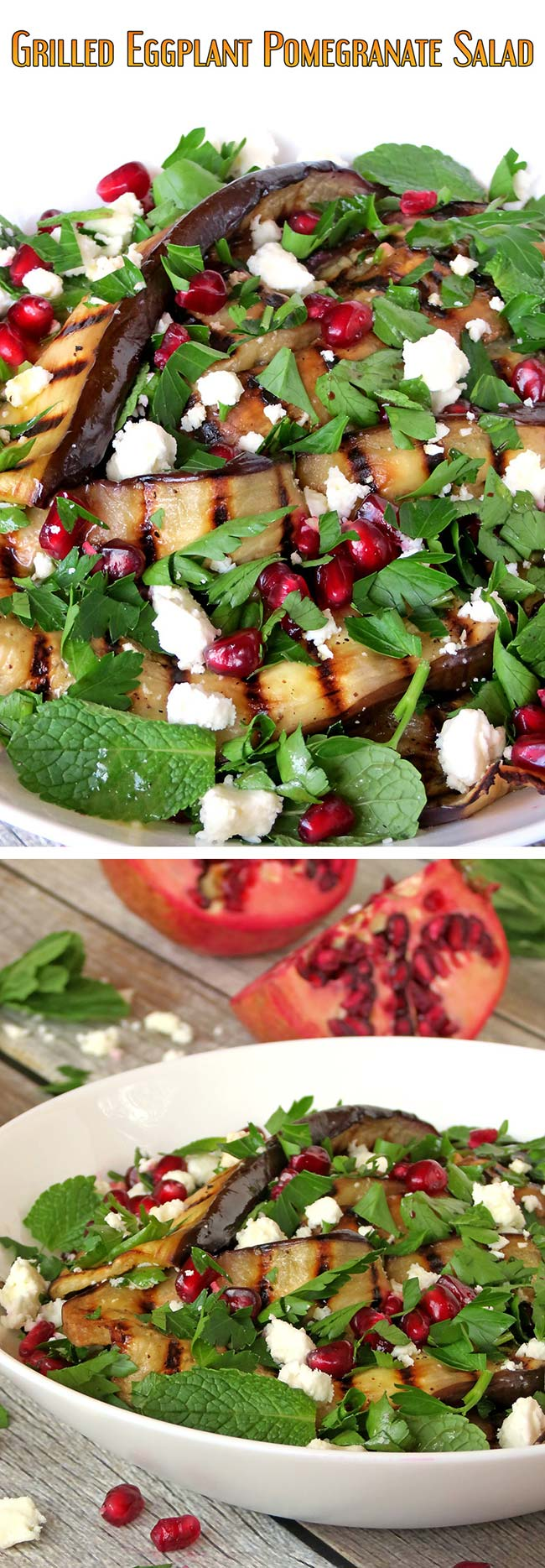 Healthy Grilled Eggplant, Pomegranate And Feta Salad | yummyaddiction ...