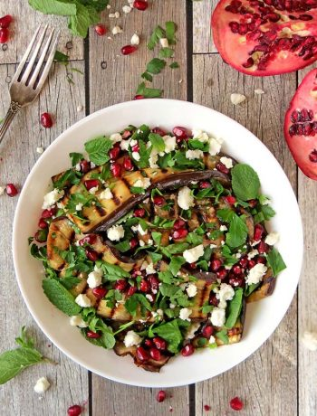 Healthy Grilled Eggplant Salad With Pomegranate, Feta And Mint