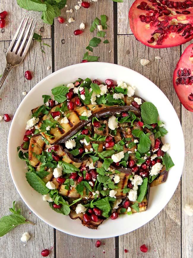 Healthy Grilled Eggplant Salad With Pomegranate, Feta And Mint | yummyaddiction.com