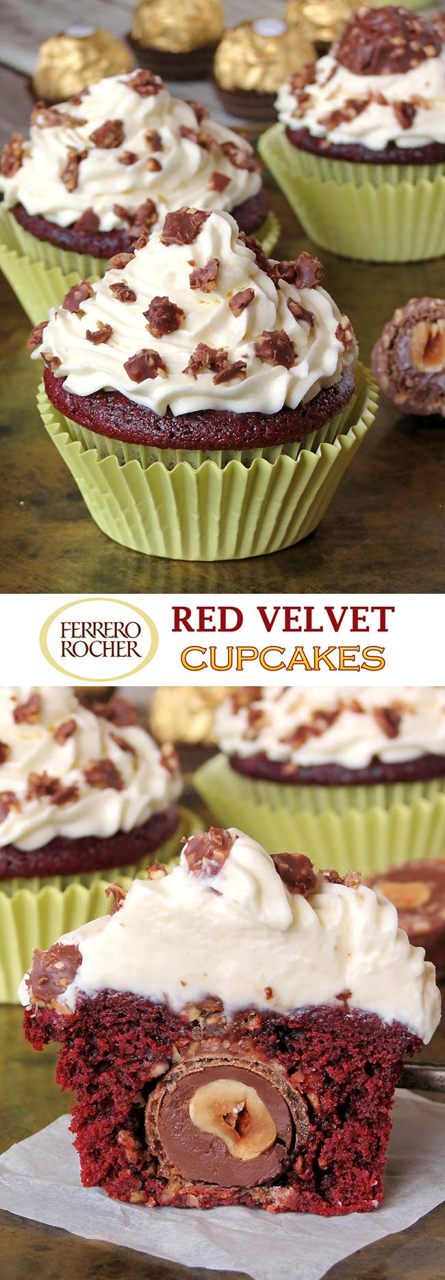 Insanely Delicious Red Velvet Ferrero Rocher Cupcakes With Mascarpone Frosting | yummyaddiction.com