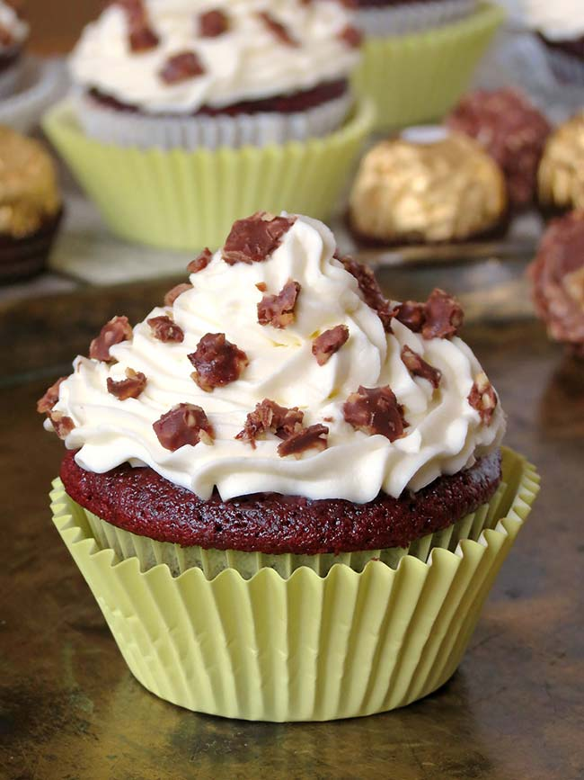 Red Velvet Ferrero Rocher Cupcakes | yummyaddiction.com