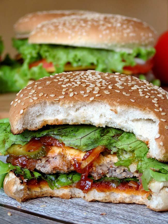 Pork Burgers With BBQ Sauce | yummyaddiction.com