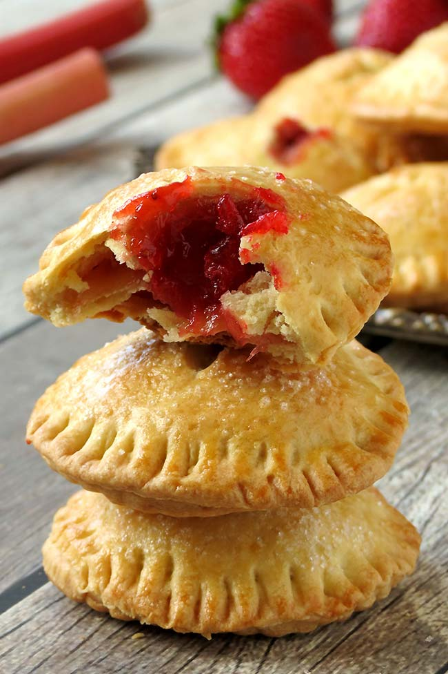 Rhubarb And Strawberry Hand Pies | yummyaddiction.com