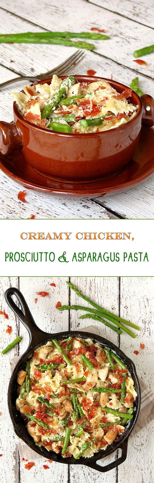 Creamy Chicken, Prosciutto And Asparagus Pasta   yummyaddiction.com
