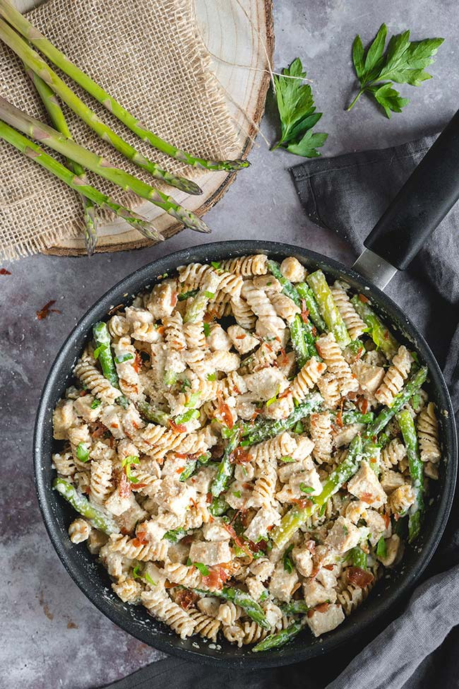 Creamy Chicken, Prosciutto And Asparagus Pasta | yummyaddiction.com