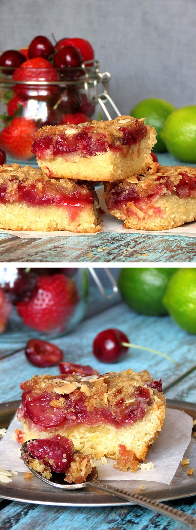 Strawberry Cherry Crumb Bars