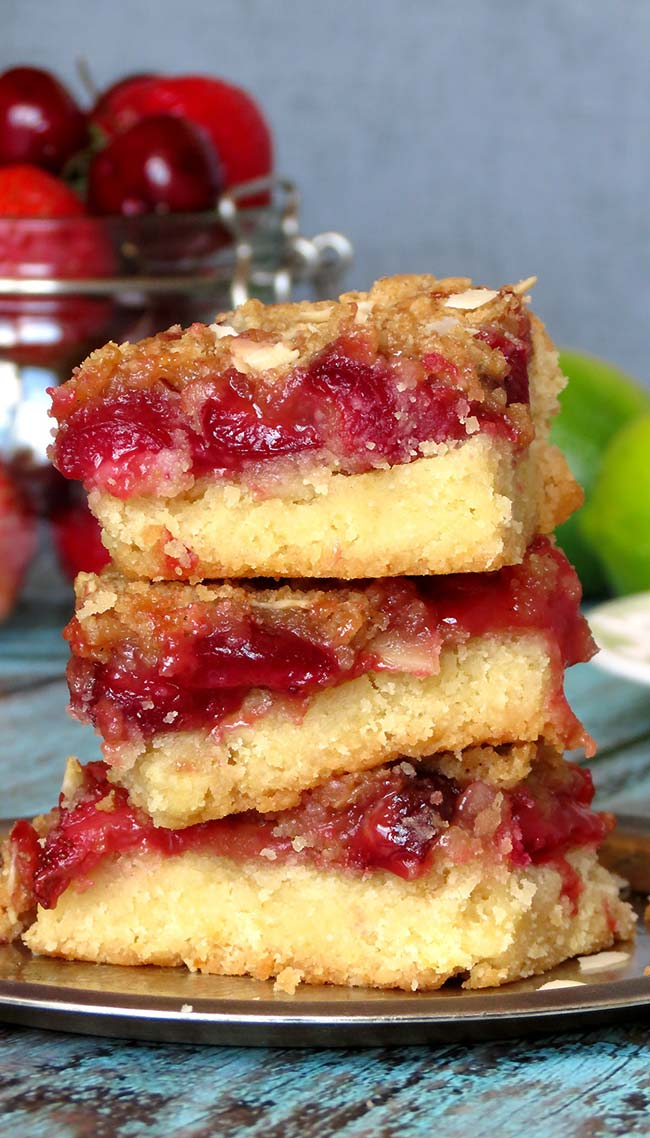 Strawberry Cherry Crumb Cake Bars