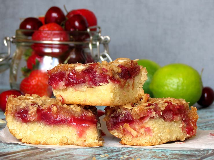 Strawberry Cherry Crumble Bars