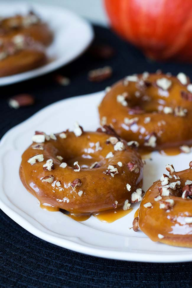 Baked Pumpkin Donuts With Salted Caramel Drizzle