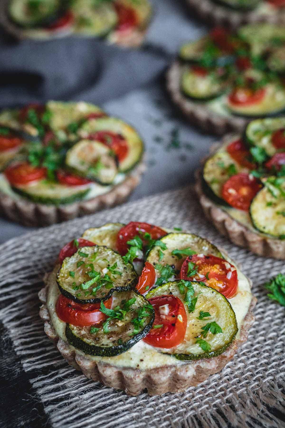 Zucchini, Tomato And Ricotta Tartlets