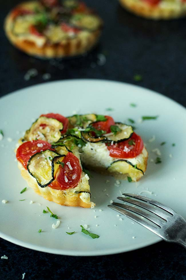 Zucchini, Tomato And Ricotta Tarts