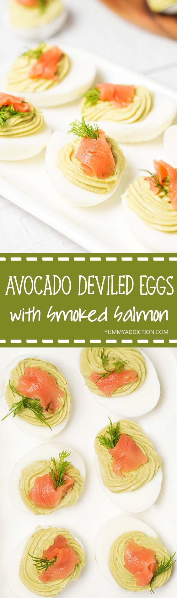 These Avocado Deviled Eggs are topped with smoked salmon and garnished with dill! | yummyaddiction.com