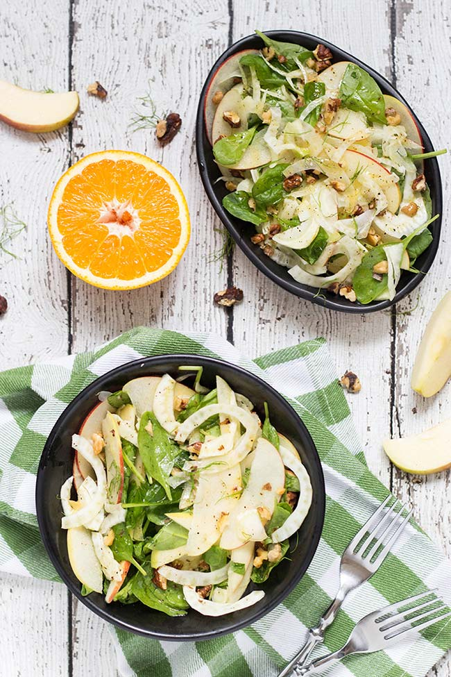 This Apple Fennel Salad also features walnuts and a fantastic orange dressing. Delicious, healthy and really quick to make!   yummyaddiction.com