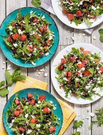 Arugula Watermelon Salad with Balsamic Reduction