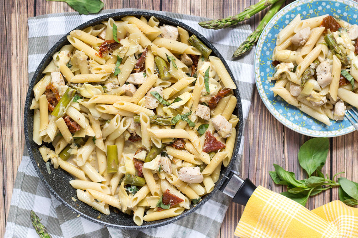 Chicken Artichoke Pasta also features asparagus and sun-dried tomatoes ...