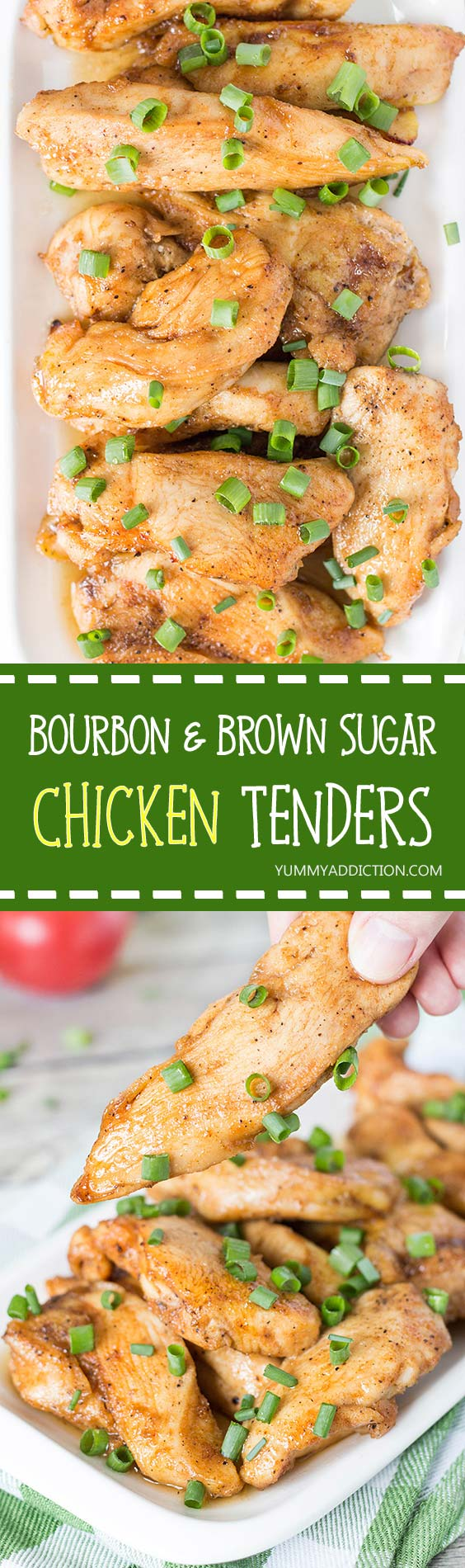 These Bourbon Brown Sugar Chicken Tenders are really tender and so juicy! The flavor is sweet and spicy. Try them! | yummyaddiction.com