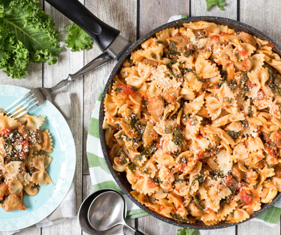 This Sausage Kale Pasta, featuring mushrooms, is a comfort food at its best, but the addition of the almighty kale makes it healthy at the same time! | yummyaddiction.com